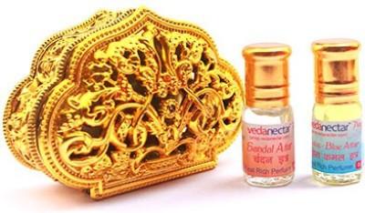 Vedanectar Sandal Attar and Lotus - Blue Attar 3ml each in Golden Heart Box Herbal Attar