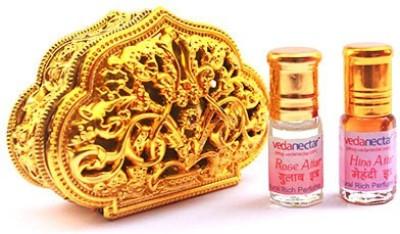 Vedanectar Rose Attar and Hina Attar 3ml each in Golden Heart Box Herbal Attar