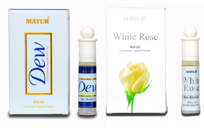 Mayur Dew & White Rose (2pcs of 8ml) Floral Attar