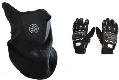 Nimarketing Neoprene Neck Warm Half Face Mask Black ,1 Probiker Gloves Combo