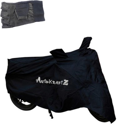 AutoKraftZ Premium Bike Body Cover Black::Half Cut Leather Gloves For Hero Moto Corp Maestro Edge Combo