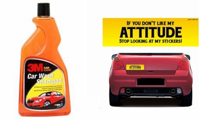3M 1 Car Bumper Sticker, 1 3M Premium Shampoo 500ml Combo