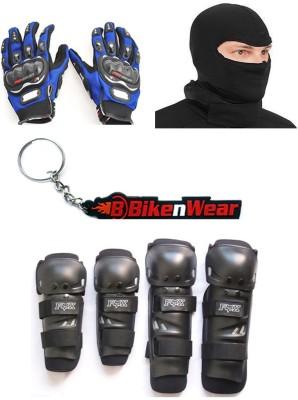 BikeNwear 1 Fox Knee & Elbow Guard, 1 Probiker Gloves Blue-XL, 1 Balaclava Face Mask, 1 Keyring Combo