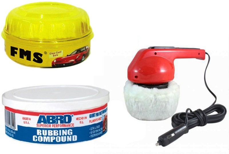 Abro 1 Car Polisher, 1 FMS Wax Polish, 1 Abro Rubbing Compound RCH-60 Combo