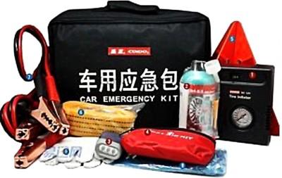 Coido 1Pcs Emergency Triangle,1Pcs 12V Tire Inflator,1Pcs Tire Sealant,1Pcs Booster Cables,1Pcs First-Aid Kit,1Pcs Tow Rope,1Pcs Hand-Winding Torch,1Pcs Rain Poncho/Gloves Combo