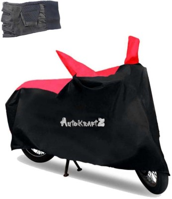AutoKraftZ Premium Bike Body Cover Black & Red::Half Cut Leather Gloves For Honda CBR650F Combo