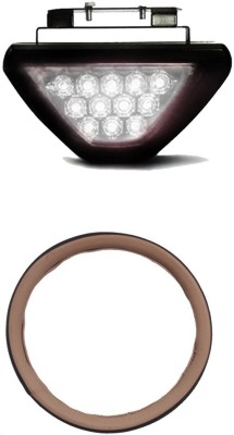 Allure Auto 1 Ring Type Car Steering Cover, White 12 LED Brake Light with Flasher For Mahindra Thar Combo