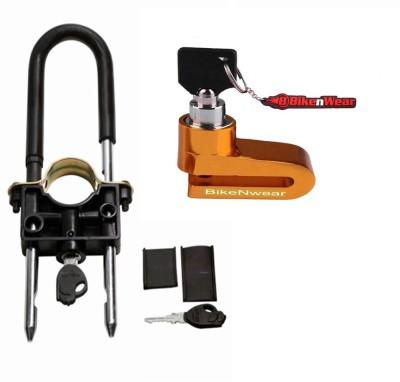 BikeNwear 1 Front Wheel Lock-Black, 1 Disc Brake Lock-Golden Combo