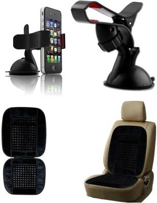 Auto Pearl 1Pcs Car Moblie Stand, 1Pcs Bead Seat Cushion with Black Velvet Border Combo