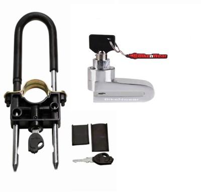 BikeNwear 1 Front Wheel Lock-Black, 1 Disc Brake Lock-Silver Combo