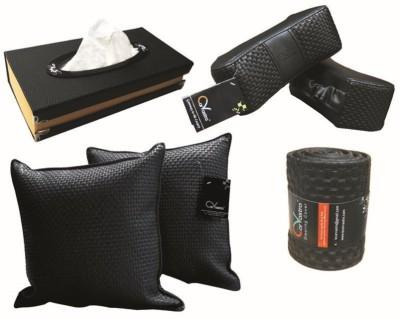 Kozdiko 2 Car Cushion, 2 Neck Rest, 1 Tissue Dispenser, 1 Steering Cover Black Color Combo