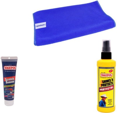Waxpol 1 Waxpol Car Protectol Polish 200ml, 1 Waxpol Scratch Remover 150gms, 1 Microfiber Cloth Combo