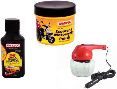 Waxpol 1 Car Polisher, 1 Waxpol Bike Polish 60gm, 1 Waxpol 2K Rubbing Compound 150gm Combo