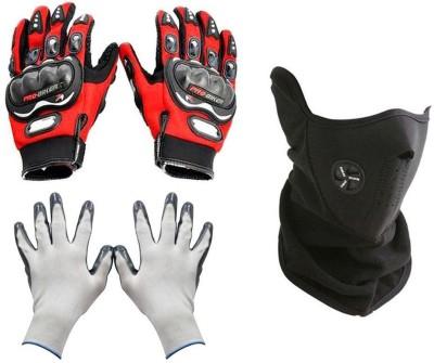 Pro Biker 1 Bike Gloves, 1 Neoprene Half Face Mask-Black, 1 Gloves-White Combo