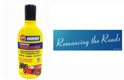 Abro 1 Car Bumper Sticker-Romancing, 1 Wash-N-Glow Shampoo (100 Ml) Combo