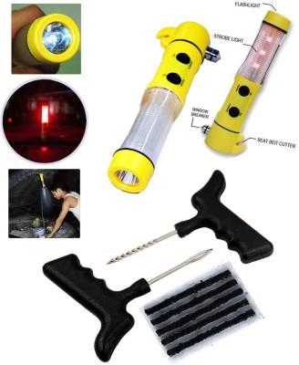 Auto Pearl 1Pcs 5in1 Window Glass Breaker,Emergency,Hammer, 1Pcs Tubeless Tyre / Tire Puncture Kit Combo