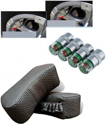 Auto Pearl 4Pcs Car and Bike Air Alert Tire Valve Cap, 1Set Car Vastra Grey Car Neck Rest Cushion Combo