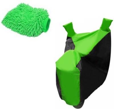 Retina 1x Universal Black & Green Bike Body Cover, 1x Microfiber Vehicle Washing Hand Glove Combo