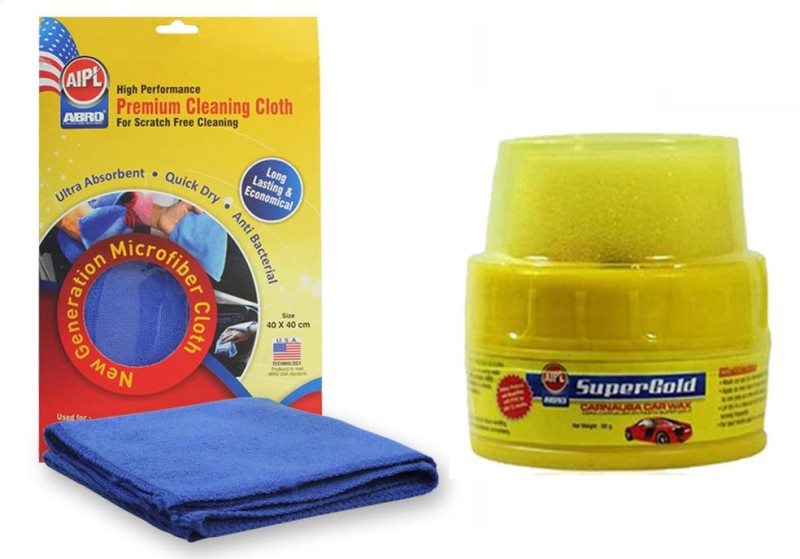 Abro 1 Car or Bike Super Gold Wax Polish 60gm, 1 Microfiber Cloth Combo