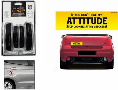 Speedwav 1 Car Bumper Sticker, 1 Car Door Scratch Guard-BlACK Combo