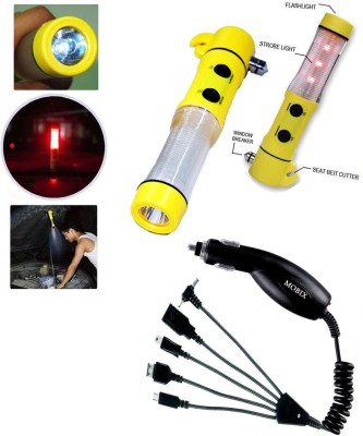 Auto Pearl 1Pcs 5in1 Window Glass Breaker,Emergency,Hammer, 1Pcs Mobix Car Charger Combo
