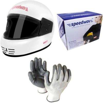 Speedwav 1 Full Face Bike Riding Helmet-White, 1 Accedre Riding Gloves-White Combo