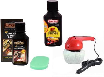 Waxpol 1 Car Polisher, 1 Waxpol Leather & Dashboard Polish, 1 Waxpol 2K Rubbing Compound Combo