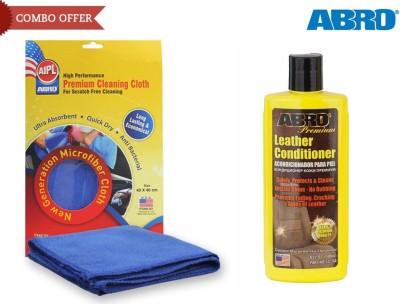 Abro 1 Car Leather conditioner LC-750 (240 ml), 1 Microfiber Cloth Combo