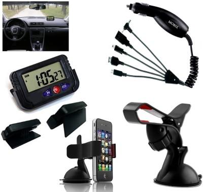 Auto Pearl 1Pcs Dash Board Clock, 1Pcs Mobix Car Charger, 1Pcs Car Mobile Stand Combo