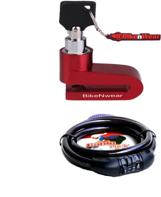 BikeNwear 1 Disc Brake Lock-Red, 1 Cable Numberic Lock-Black Combo