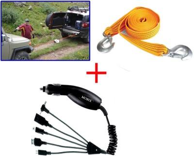 Auto Pearl 1Pcs 3 Ton 2.65Mtr Nylon Towing Cable, 1Pcs Mobix Car Charger Combo