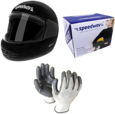 Speedwav 1 Full Face Bike Riding Helmet-Black, 1 Accedre Riding Gloves-White Combo