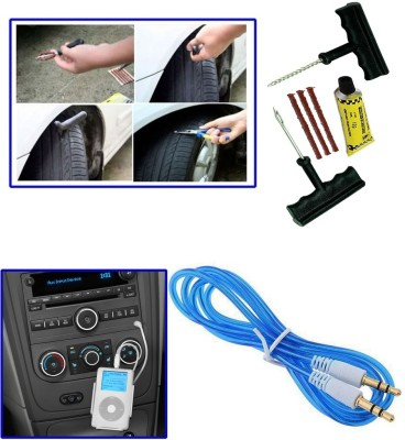 Auto Pearl 1Pcs 6 Pieces Car BikeTyre Puncture Kit, 1Pcs 3.5mm Aux Cable Combo