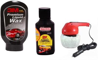 Waxpol 1 Car Polisher, 1 3M Car Wax Polish 200ml, 1 Waxpol 2K Rubbing Compound 150gm Combo