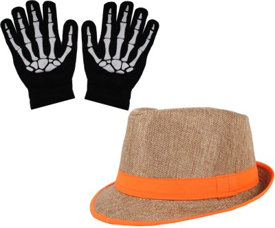 Sushito Teens Golden Juet Fidora Hat With Hand Gloves Combo