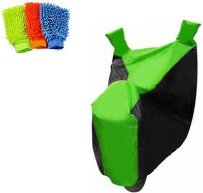 Retina 1x Universal Royal Enfield Black & Green Bike Cover, 3x Microfiber Vehicle Washing Hand Gloves Combo