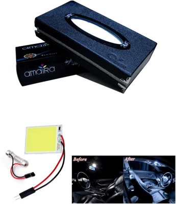 Auto Pearl 1Pcs Car Tissue Paper with Box Black, 1Pcs SMD/LED Interior Roof Ceiling White Color Light Combo