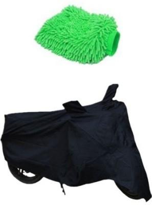 Retina 1x Universal Royal Enfield Black Bike Cover, 1x Microfiber Vehicle Washing Hand Glove Combo