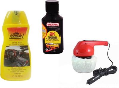 Waxpol 1 Car Polisher, 1 Formula 1 Leather Polish, 1 Waxpol 2K Rubbing Compound Combo