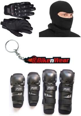 BikeNwear 1 Fox Knee & Elbow Guard, 1 Probiker Gloves Black-XL, 1 Balaclava Face Mask, 1 Keyring Combo