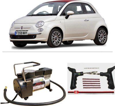 CreativeVia AutoCut-OFF Premium Metal Air Compressor With Tyre Punture Repair Kit For Fiat 500 Combo