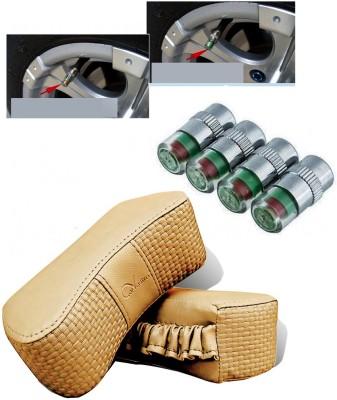 Auto Pearl 4Pcs Car and Bike Air Alert Tire Valve Cap, 1Set Car Vastra Beige Car Neck Rest Cushion Combo