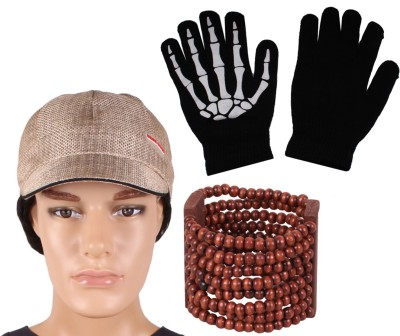 Sushito Jute Cap & Wooden Wrist Band With Hand Gloves Combo