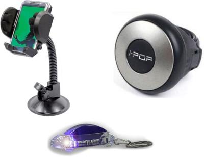 Speedwav 1 i-pop Mini Steering Wheel Knob, 1 Car Mobile Holder, 1 Free Keychain Combo