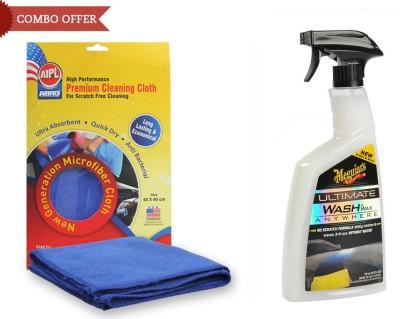 Meguiar's 1 Meguiars Car/Bikes Spary Wash & Wax Anywhere-828ml, 1 Abro Microfiber Cloth Combo