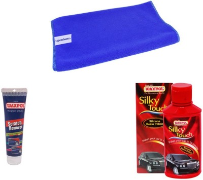 Waxpol 1 Waxpol Silky Touch Polish 150ml, 1 Waxpol Scratch Remover 150gms, 1 Microfiber Cloth Combo
