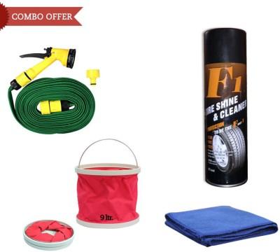Abro 1 F1 Auto Tyre Shine & Cleaner 650ml, 1 Water Gun, 1 Abro Cloth, 1 Foldable Bucket Combo