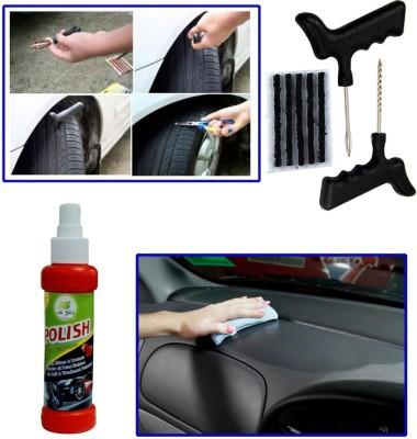 Auto Pearl 1Pcs Tubeless Tyre / Tire Puncture Kit, 1Pcs 120ml Car Polish Spray Combo