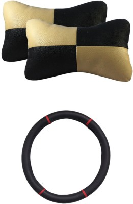 Allure Auto 1 Ring Type Car Steering Cover, 1 Pair Of Neck Rest Combo
