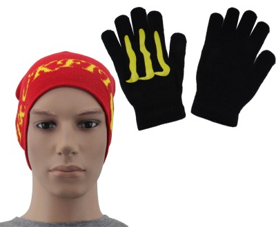 Sushito Red Fit Woollen Skull Cap With Hand Gloves Combo